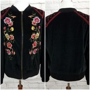 Torrid Floral Embroidered Bomber Jacket Velvet Med
